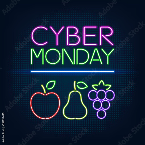 Cyber Monday sale abstract vector background, illustration in neon style