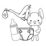 bunny and stork cute cartoon in black and white
