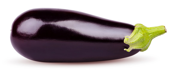 Isolated eggplant. Fresh Eggplant vegetable with stem isolated on white background. Aubergine with clipping path