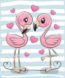 Two Cartoon Flamingos on a blue background
