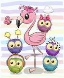 Cute Cartoon Flamingo and five owls