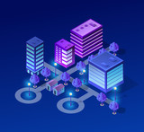 Vector isometric urban architecture building of modern city with street, skyscraper, and town, house. For business illustration and construction map shape background - 231955076