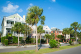 Bright scenic morning view of the historic Battery neighborhood with palmetto palm trees in Charleston, South Carolina, USA - 231956616