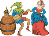 Medieval juggler and pretty girl. Engraved style. Vector illustration - 231957270