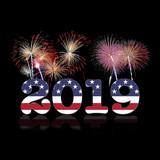 USA New year 2019. Illustration.