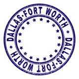 DALLAS-FORT WORTH stamp seal imprint with distress texture. Designed with round shapes and stars. Blue vector rubber print of DALLAS-FORT WORTH label with dirty texture. - 231966290