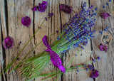 bunch of lavender on wood background - 231970061