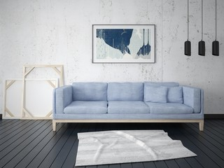 Mock up in a stylish living room with a sofa in a modern style and a fashionable light background.