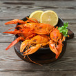 Boiled crayfish. Rustic style - 231977851