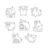 Funny pig in different poses. Cartoon character holding a gift. Emotions of Pets. Happy new year. 2019. Postcard. Congratulations to a friend. Symbol of year. Chinese horoscope. Vector illustration. P