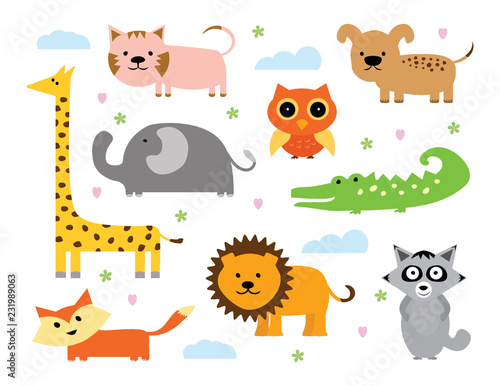 Animal Vector Set. Set of Cartoon Animals. Baby Animals Collection - 231989063