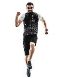one caucasian man trail runner running silhouette isolated on white background - 231994695