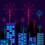 scene cityscape with fireworks - 231998212