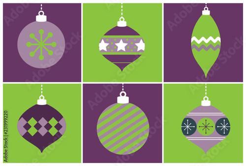 Fioletowe i zielone ozdoby świąteczne