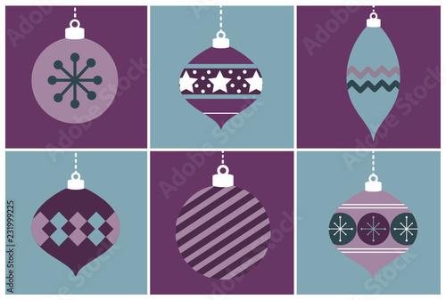 Fioletowe i niebieskie ozdoby świąteczne