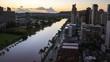 Zoom out sunrise timelapse of the city of Honolulu, Hawaii, USA