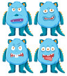 Set of blue monster character