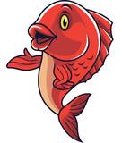 Cartoon fish mascot waving - 232013046