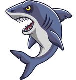 Cartoon angry shark mascot - 232013084