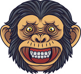 Cartoon Chimpanzee Head Mascot - 232013202