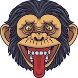 Cartoon Chimpanzee Head Mascot Showing Tongue - 232013266