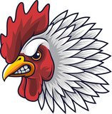 Chicken rooster head mascot - 232013667