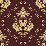 Orient vector classic pattern. Seamless abstract background with vintage elements. Orient golden background. Ornament for wallpaper and packaging - 232014861