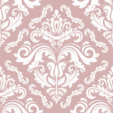 Orient vector classic pattern. Seamless abstract background with vintage elements. Orient purple and white background. Ornament for wallpaper and packaging - 232015495