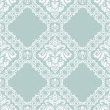 Classic seamless vector pattern. Damask orient blue and white ornament. Classic vintage background. Orient ornament for fabric, wallpaper and packaging - 232016042
