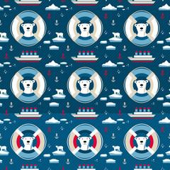 7146955 Polar bear seamless pattern with lifebuoy © Xenia Snowstorm