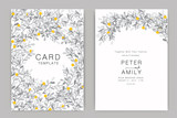 Wedding Invitation, floral invite thank you, rsvp modern card Design flower and leaf  branches decorative Vector elegant rustic template