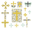 Set of Christian Crosses Collection. Set of Religion Crosses in Vector