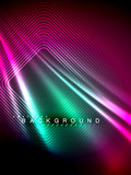 Neon glowing wave, magic energy and light motion background. Vector illustration - 232021247