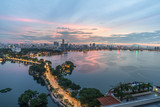 Aerial view of Hanoi skyline at West Lake or Ho Tay. Hanoi cityscape at twilight - 232026021