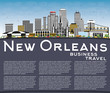 New Orleans Louisiana City Skyline with Gray Buildings, Blue Sky and Copy Space.