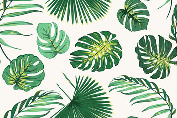 Exotic tropical fern greenery botanical seamless pattern. Realistic jungle palm tree monstera leaves. Vivid bright green on clean white background. Vector illustration for fashion, fabric, textile.