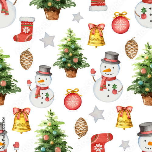 fototapeta na ścianę Watercolor vector seamless pattern with Christmas tree and toys.