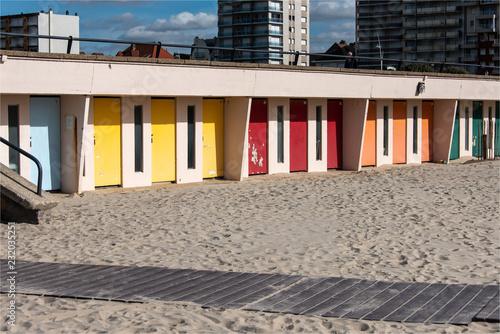 Foto Murales cabines sur la plage du Touquet dans le Nord de la France