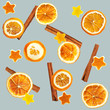 Christmas background of dried oranges, orange peel in the shape of a star and with cinnamon. Seamless background
