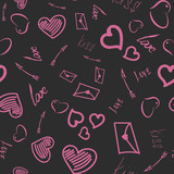 Seamless pattern for Valentine's Day. Gray and pink tones. - 232039029