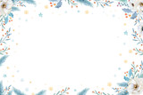 Watercolor Christmas wreath with fir branches and lettering text. New year greeting card and invitations isolated on white background. - 232043814