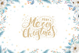 Watercolor Christmas wreath with fir branches and lettering text. New year greeting card and invitations isolated on white background. - 232043835