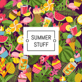 Vector flat cute summer elements, cocktails, flamingo, palm leaves background with place for text illustration