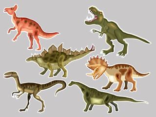 T-REX,  Tyrannosaur, Velociraptor, Triceratops, Brontosaurus, Parasaurolophus, Stegosaurus. Cute vector cartoon  set of a dinosaurs,  patches and stickers collection.
