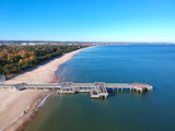 Baltic Sea pier in Gdansk Brzezno at autumn, Poland - 232052809