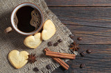 Coffee and tasty heart shaped cookies - 232058409