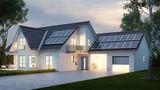 Haus mit Beleuchtung abends - 232058467