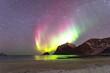 Leinwandbild Motiv Nordlichter am Hauklandstrand