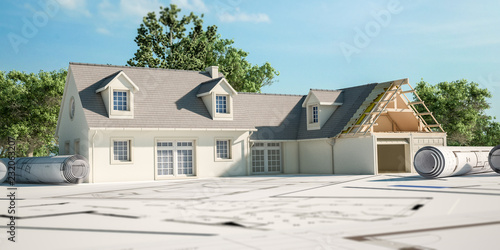 Leinwanddruck Bild House renovation