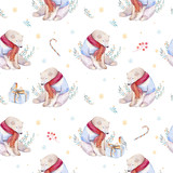 Watercolor holiday seamless pattern of a cute polar bear and deer, winter print, children's illustration, portrait of a bear, isolated new year on a white background, animal in a red scarf - 232063423